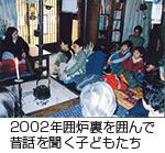 2002年囲炉裏を囲んで昔話を聞く子どもたち