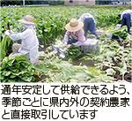 通年安定して供給できるよう、季節ごとに県内外の契約農家と直接取引しています