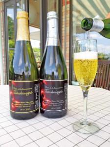 芳醇な香りが楽しめるりんごの微発泡酒「シードル」は、長野県原産地呼称管理認定商品。微甘口のデミ-セックと辛口のブリュットの2種類。750ml各3,240円